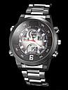 style de pilote multi-fonctionnelle boitier noir montre-bracelet bracelet en acier de quartz analogique-numerique des hommes (couleurs assorties)