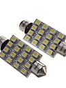"2Pcs 42Mm 16-Smd 1.72"" 12V Festoon Dome Light Led Bulbs + Sticker"