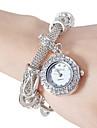Mulheres Bracele Relogio Simulado Diamante Relogio Japanes Quartzo imitacao de diamante Banda Vintage Elegantes Prata DouradaDourado