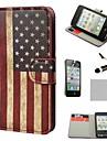 COCO FUN ® Rétro drapeau des Etats-monnaie plein corps PU dure en cuir Etui avec support pour iPhone 4S inclus Film et Stylus