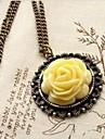 Collier avec pendentif Rose jaune retro Palais de chandail de la chaine