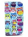 Colorful Owls Pattern PU Leather Case with Card Holder for Samsung Galaxy Trend Duos S7562