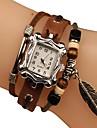 L'argent des femmes Dial tricot à la main en cuir de quartz de bande Vintage Analog Montre-bracelet Feuille