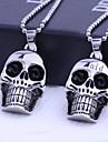Personalizado Joias Presente Cranio Formas de aco inoxidavel gravado pingente de colar com 60 centimetros Cadeia