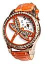 Women\'s Luxury Diamond  Dragonfly Pattern Gold Case PU Band Quartz Analog Wrist Watch(Assortedcolors) Cool Watches Unique Watches