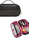 Portable High End Diamond Black PU Clutch Cosmetic Bag Makeup Storage Bag