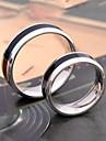 Unisex\'s Black Stripe Titanium Steel Couple Ring