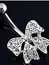 Lureme®316L Surgical Titanium Steel Crystal Bowknot Pendant Navel Ring