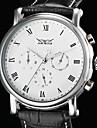 WINNER 남성용 손목 시계 기계식 시계 달력 PU 밴드 럭셔리 블랙