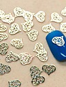 200PCS Hollow Lace Heart Shape Slice Metal Nail Art Decoration