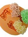 три отверстия форме цветка пекут помадка торт плесень, l6cm * w5.3m * h1.5cm