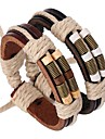 The Latest Bronze Springs Wooden Beads Leather Bracelet  Jewelry Christmas Gifts