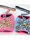 Dog Harness / Leash Bowknot / Leopard Red / Blue Textile