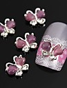 10pcs Flying Butterfly with Purple Cat\'s Eye Stone 3D Alloy Nail Art Decoration