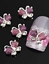 10pcs borboleta com pedra olho 3d liga nail art decoracao do gato roxo voando
