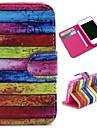 colorized estilo carteira padrão de carrinho de madeira aleta TPU + estojo de couro pu para iphone 4 / 4s