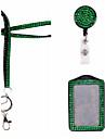 novo cordao Rhinstone cristal Brilhante com chaveiro e lagosta clipe de cracha de identificacao (com carretel e titular id)