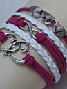 leather Charm BraceletsVintage Antique Silver Double Heart 8 18cm Unisex  Leather Wrap Bracelet(1 Pc) inspirational bracelets