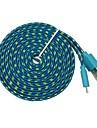 Micro usb fideos plana trenzada de tela cable 3m 10TF sincronizacion de datos de carga para s4 samsung galaxy s3 (colores surtidos)