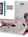 COCO FUN® Butterfly Girl Pattern PU Leather Case with Screen Protecter, Stand and Stylus for iPhone 6 Plus 5.5