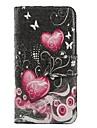 розовое сердце PU кожаный чехол для всего тела с подставкой и слот для карт памяти для IPhone 6