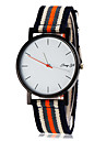 Men\'s Simple White Dial Stripe Fabric Band Quartz Wrist Watch (Assorted Colors)