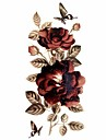 Series Flores Tatuagem Adesiva - Estampado/Waterproof/Purpurina - para Feminino/Girl/Adulto/Adolescente - de Papel - Multicolorido -