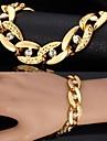 u7® robusto 18k verdadeiro ouro pulseiras banhados bangles joias strass unisex