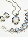 toonykelly vintage antik sølv transparent sten (øreringe og halskæde og armbånd) smykker sæt