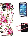 2-in-1 Pink Rose Peony Pattern TPU Back Cover with PC Bumper Shockproof Soft Case for Samsung Galaxy S4 I9500