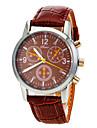 boitier rond PU bande de montre-bracelet a quartz analogique pour hommes