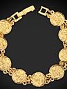 u7® muculmanos moeda allah sorte pulseira 18k ouro, platina vintage banhado pulseira islamico