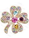 coreano de luxo colorido strass broche cheio quadrifolio