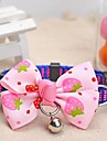 Adjustable Meshbelt Strawberry Pattern Pink Bowknot and Bell Decorated Collar for Pet Dogs