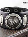 senorita Rose® 25cm punky de cuero negro de los hombres con brazalete de oro Identificacion aleacion (1 unidad)