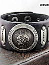 Miss ROSE® Punk 25cm Men\'s Black Leather With Gold Alloy ID Bracelet(1 Pc)