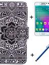 grand motif de fleur noire cuir PU cas complete du corps avec un film et un stylo de capacite pour Samsung Galaxy a3 / A3000