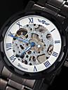 Hombre Reloj Esqueleto Cuerda Manual Huecograbado Acero Inoxidable Banda Negro