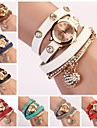 Women\s Round Dial Multi-layer Band Heart Pendant Quartz Analog Fashion Bracelet Watch (Assorted Color)