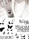 Series Animal Tatuagem Adesiva - Non Toxic/Lombar/Waterproof - para Bebe/Crianca/Feminino/Masculino/Adulto/Adolescente - de Papel - Cinzento/Preta -
