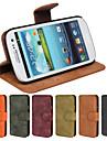 подлинный матовый PU кожа слот откидная крышка бумажник карты чехол с подставкой для Samsung Galaxy S3 i9300 (разные цвета)