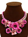 Women\'s Statement Necklaces Flower Rose Gemstone Alloy Festival/Holiday European Statement Jewelry Plaited Costume Jewelry Jewelry For