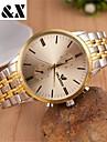 yeux de mode le calendrier des hommes entre la montre de ceinture en acier quartz analogique d\'or (couleurs assorties)