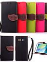 Для Кейс для  Samsung Galaxy Бумажник для карт / со стендом / Флип / Магнитный Кейс для Чехол Кейс для Один цвет Искусственная кожа