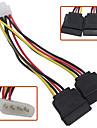 4 Pin IDE Molex to Dual 15 Pin Serial ATA SATA Hard Drive Power Adapter Cable