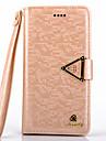 4s de diamant de luxe en cuir PU de cas complete du corps avec bequille et une carte slot pour iPhone 4 / 4S (couleurs assorties)