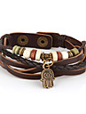 Vilam® Vintage Hamsa Wood Bead Brown Handmade Woven Leather Bracelet Jewelry Christmas Gifts