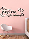 Always Kiss Me Goodnight Quotes ZY8053 Adesivo De Parede Vinyl Wall Stickers Home Decor Mural Arts