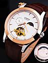 nueva explosion de linea genuina correa de cuero de moda impermeable reloj mecanico redondo de los hombres (colores surtidos)