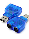 USB 2.0 to PS2 PS/2 Converter Adapter Connector for PC Mouse Keyboard Blue